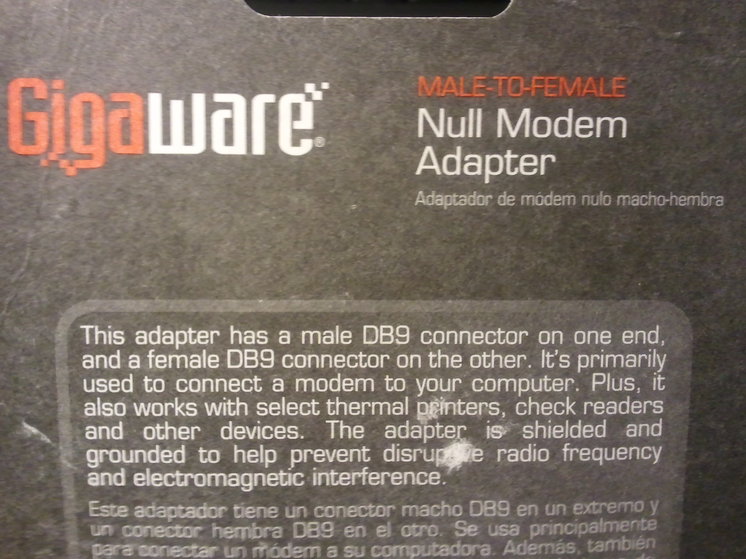 Null Modem Adapter packaging