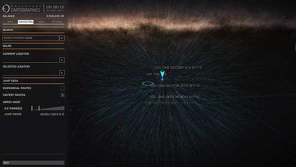Fastest paths to all star systems within 100ly of my current location. (Click for larger.)