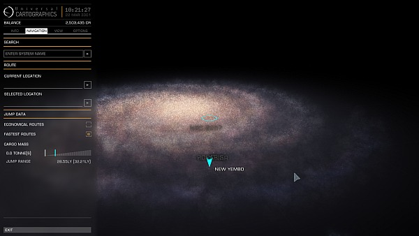 At this scale, the 100ly sphere of routes is barely even visible at all. (Click for larger.)