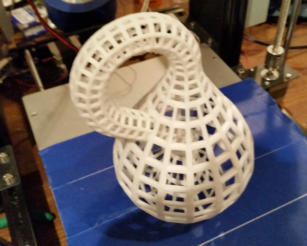 A 3D printed Klein Bottle, produced on my Prusa i3 clone.