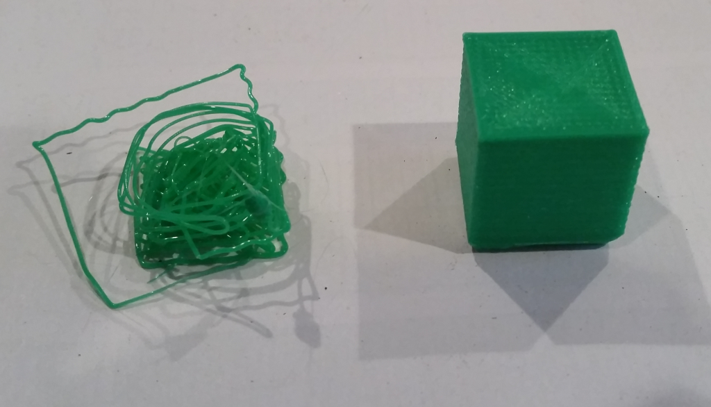 The wrong steps-per-mm setting for the Z axis can produce a complete bird's nest.