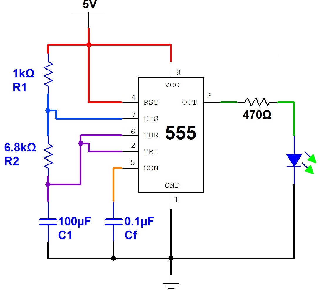 Schematic Of Timer 555 Schematics Data Wiring Diagrams Internal Circuit Ic Introduction To Breadboarding The Paleotechnologist Diagram